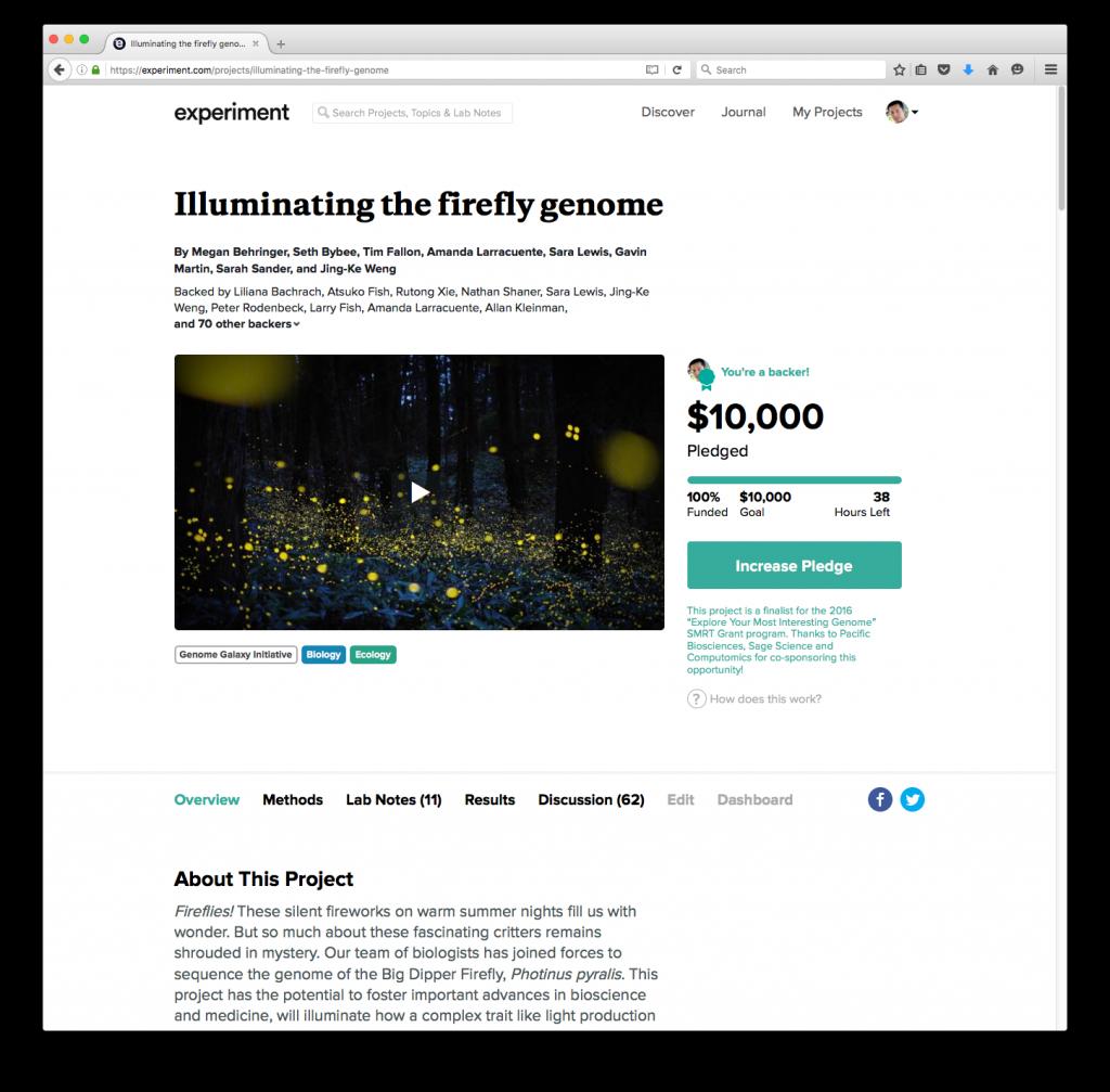 firefly genome crowdfunding